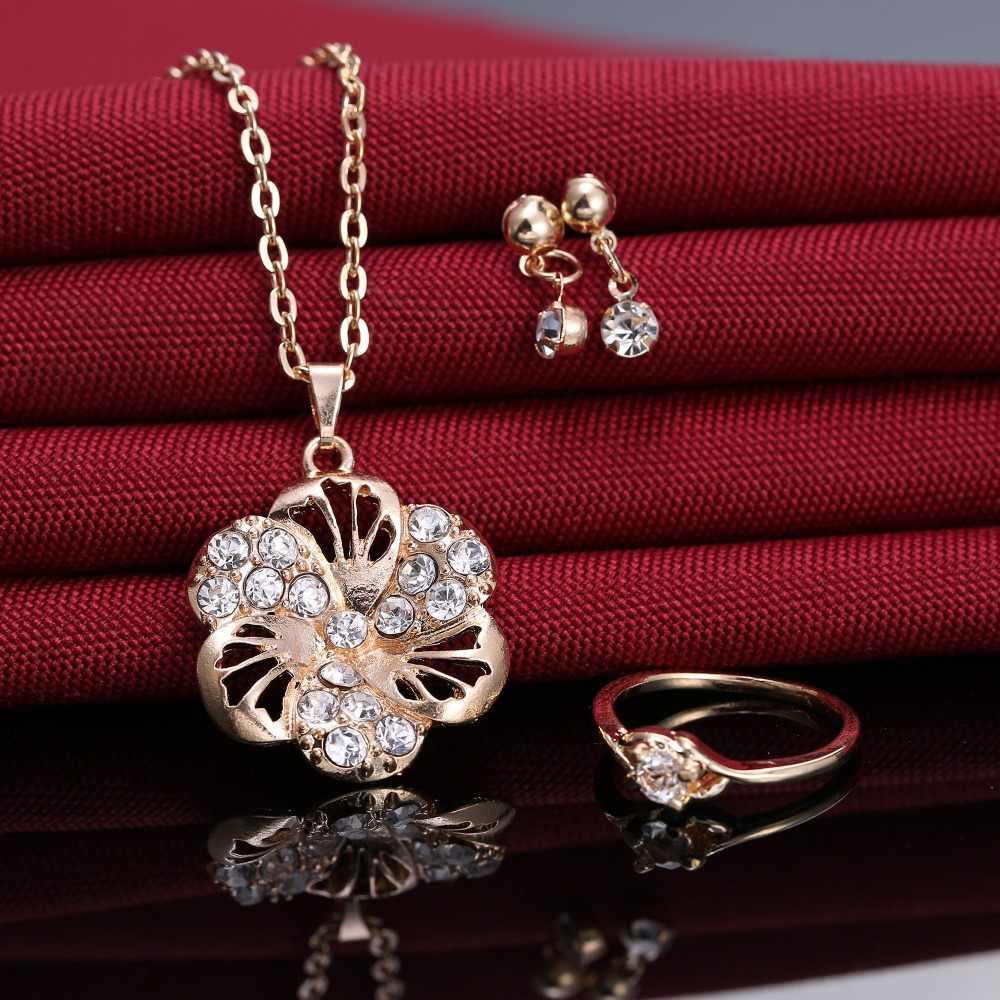 Rinhoo Blume Halskette Ohrring Ring Schmuck Set Weibliche Gold Bijoux Set Kristall Schmuck Elegante Dame Zubehör