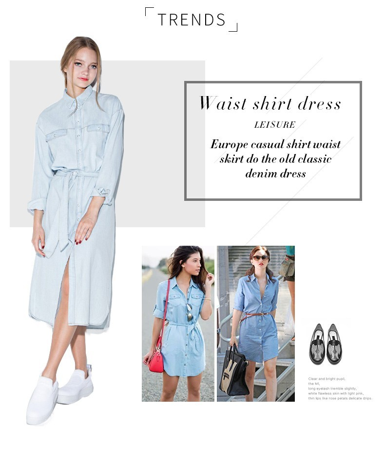 HDY Haoduoyi Women Retro Dress Denim Front Belt Casual Vintage Blue Solid Midi Shirt Robe Femme Vestido Hot Sale 11
