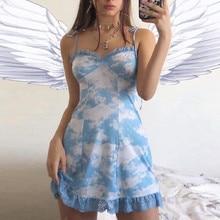 Обёрточная бумага платье Jurken Zomer одежды, комплект летней одежды для семьи, одежда для женский сарафан модные, пикантные с оборками и принтом в виде кружева Топик с низким вырезом на спине мини платье Z4