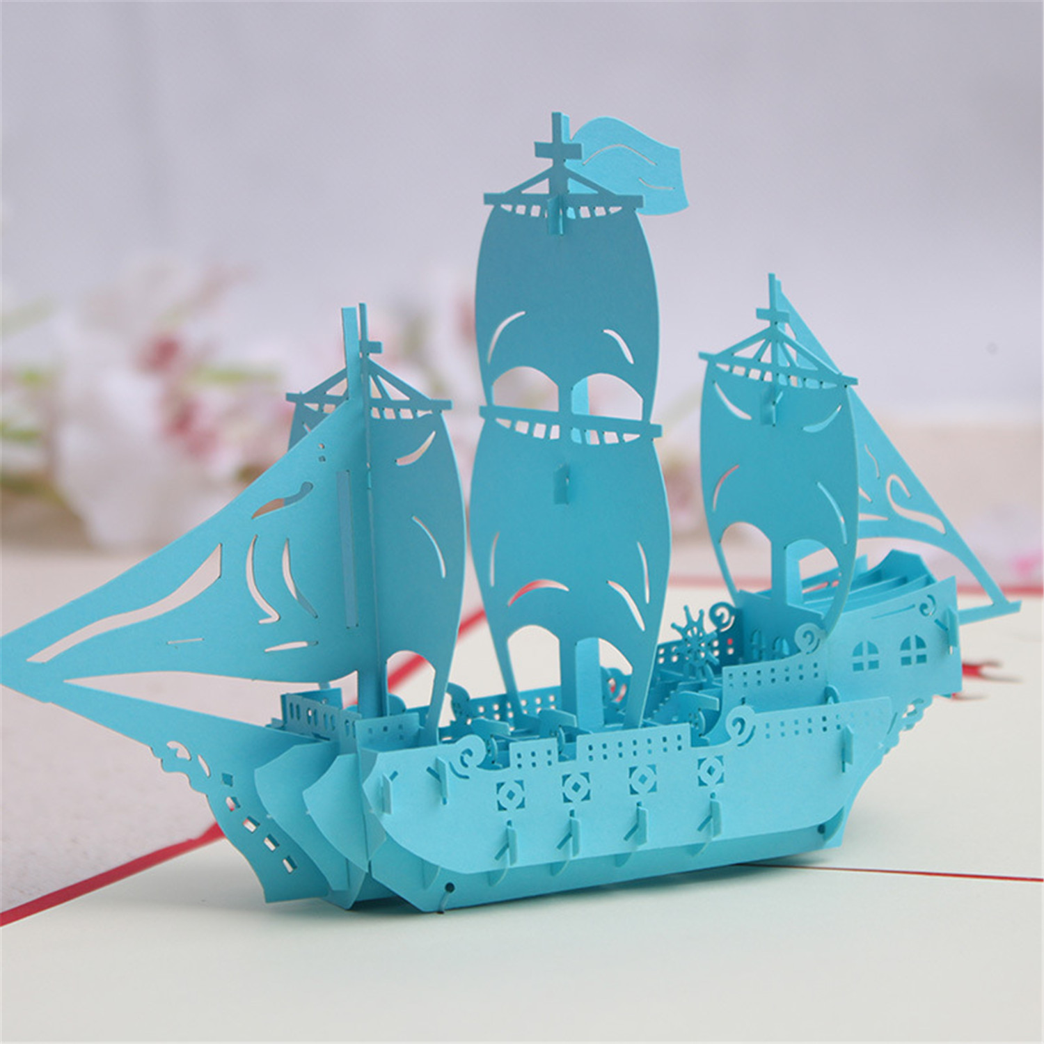 Boatus Christmas Cards 2020 3D Pop Up Greeting Cards Paper Sailing Boat US Shipping Home