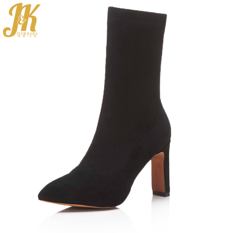 JK Brand Show Stretch Fabric Short Boots Charming Autumn Spring Boots Sexy Pointed Toe Womens High Heel Shoes Female Footwear