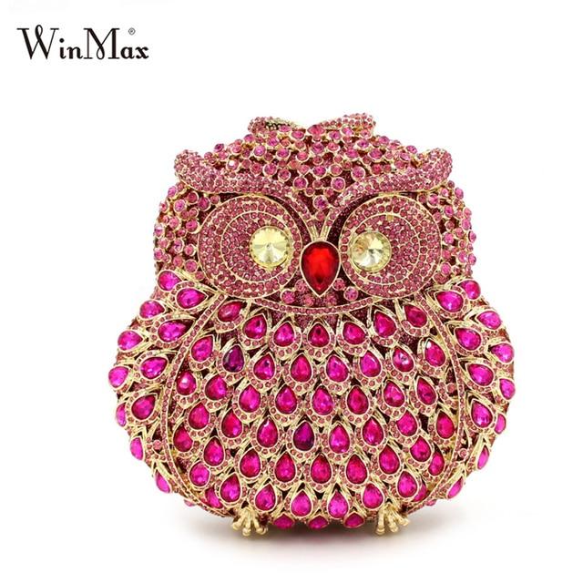 653cb24c1c5 Winmax diamonds eyes shiny Owl shape women cltch Dazzling handmade prom  evening hand bag Luxury party bags crystal clutch bag