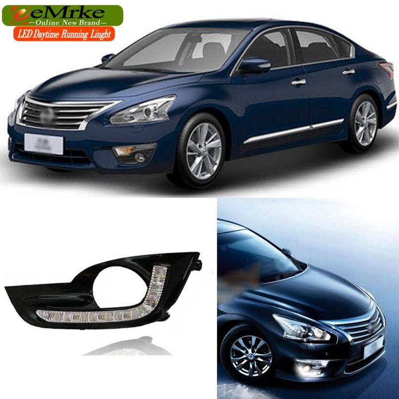 eeMrke Car LED DRL For Nissan Sylphy Pulsar Sentra B17 2012 2013 2014 White DRL Fog Cover Daytime Running Lights Kits