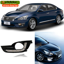 eeMrke Car LED DRL For Nissan Altima L33 2013- Xenon White DRL + Yellow Turn Signal Fog Cover Daytime Running Lights Kits