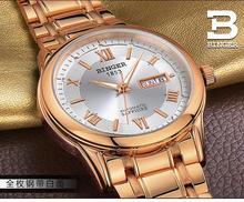 Suiza relojes de los hombres Relojes de marca de lujo BINGER BG-0383-7 luminoso Automático uno mismo-viento Impermeable de acero inoxidable completa