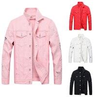 Fashion Streetwear Men Jacket Solid Color Destroyed Ripped Denim Jackets Men Punk Style Casual Coats Hip Hop Biker Jackets Homme