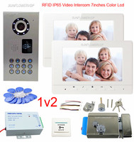 Клавиатура Rfid IP65 Водонепроницаемый видео домофон для квартиры из 2 х единиц видео домофона дверной звонок видео телефон + электронный замок