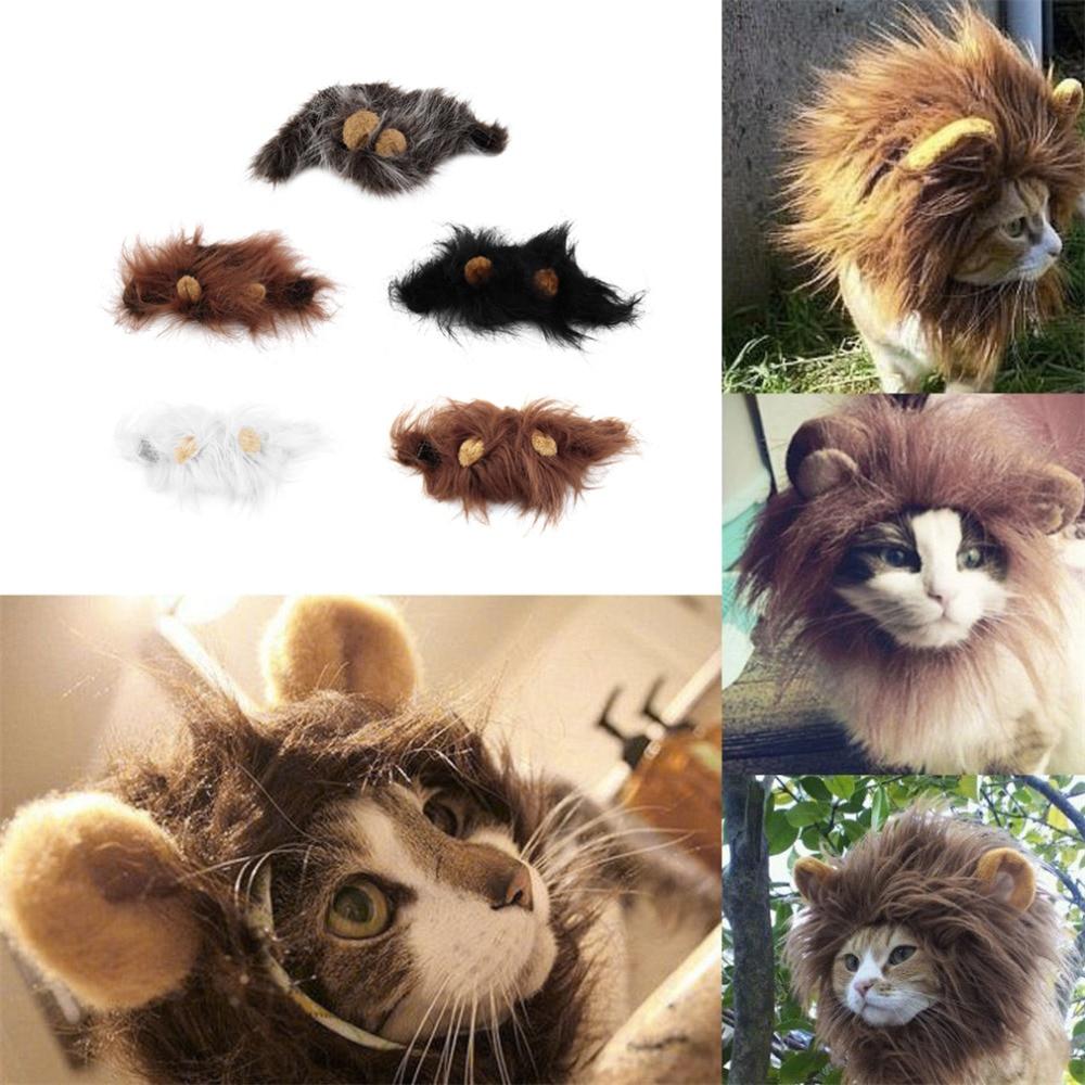 Pet Cat Dog Emulation Lion Hair Mane Ears Head Cap Herfst Winter - Producten voor huisdieren