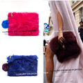 Designer Runway style Rabbit Fur Bag Classic Women clutch handbag Purse Bolsa