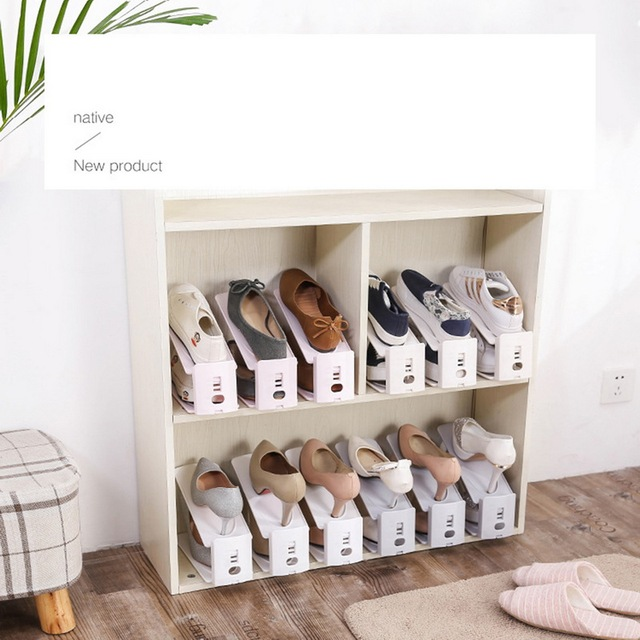 Durable Adjustable Shoe Organizer Footwear Support Slot Space Saving Cabinet Closet Stand Shoes Storage Rack Shoe BoxA