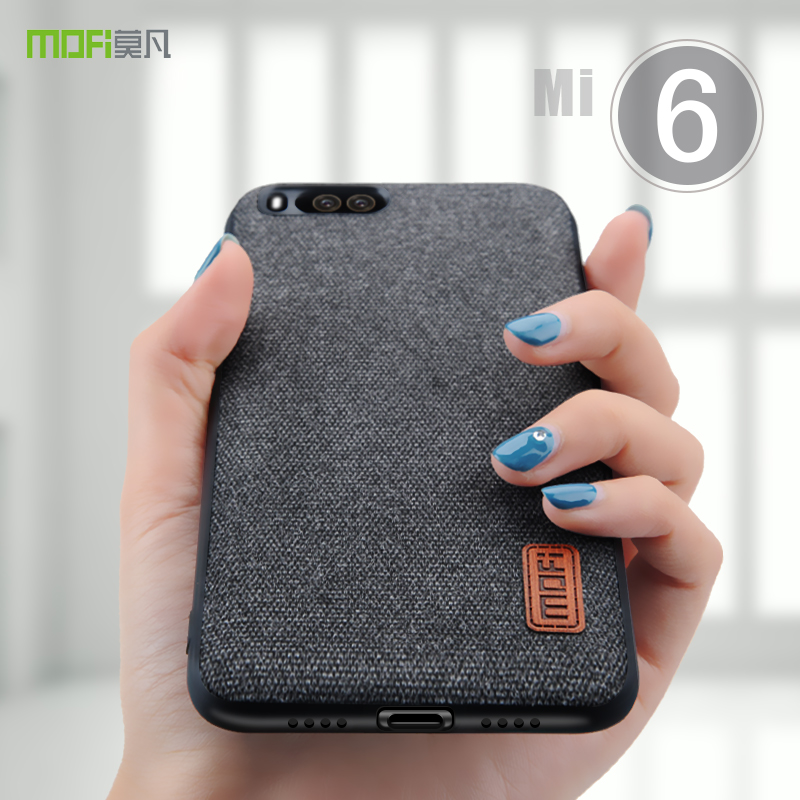 MOFi For Xiaomi Mi 6 Case Cover Mi 6 Hard Back Cover Case For Soft TPU Edge Mi6 Textile Fabrics Full Cover Bussiness Case 5.15''