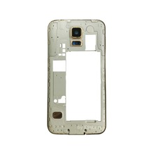 Gold/White Middle Frame Bezel Back Housing Rear Camera Panel for Samsung Galaxy S5 V Duos SM-G900FD Dual SIM LTE, Free Shipping