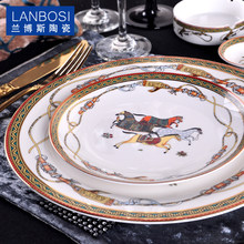 Fine Bone China Cavalo Running Ocidental Bolo europeia Belo Prato de Cerâmica de Mesa Do Hotel Placas Decorativas Para a Sobremesa, Lanche(China)