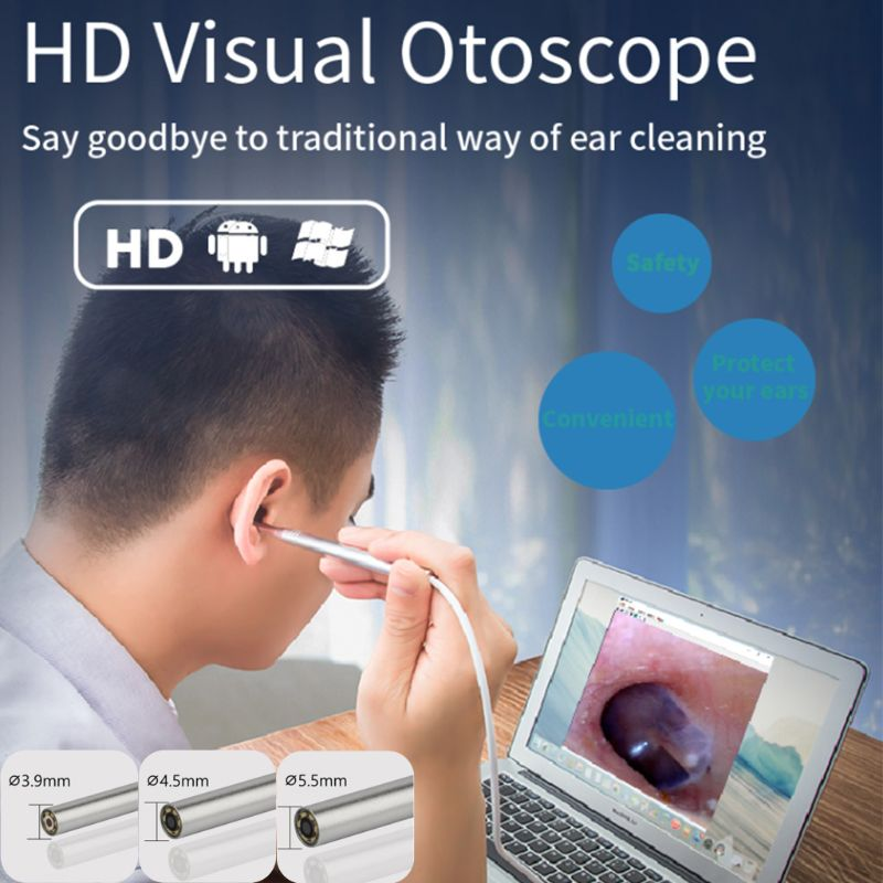 3.9mm 4.5mm 5.5mm HD Ear Cleaning Endoscope Camera 1.0 Mega Pixel Borescope Inspection Camera Earpick Tool For Android PC