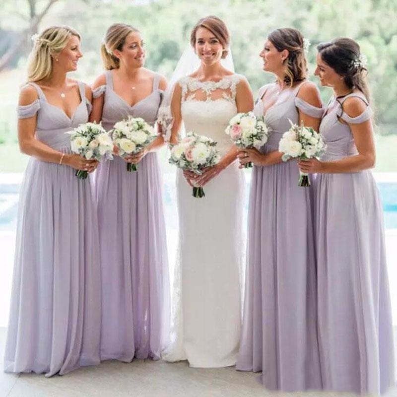 Robes de demoiselle d'honneur 2019 élégant col en v lilas en mousseline de soie robes de demoiselle d'honneur de mariage d'été longueur de plancher
