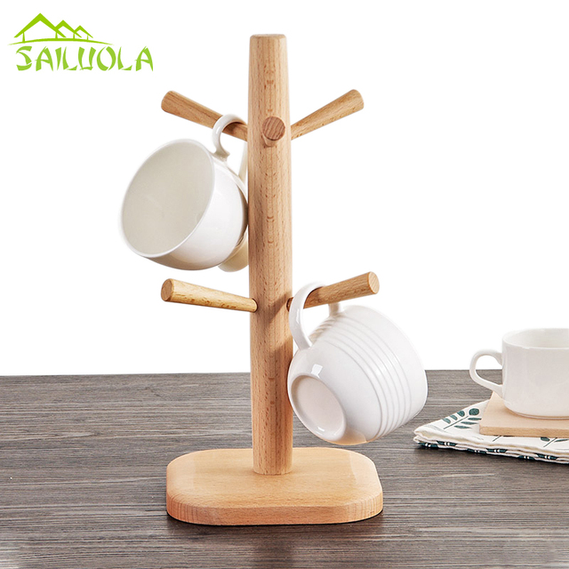 Z Wood Tree Shape Mug Coffee Cups Drying Storage Rack Holder Kitchen Drain Hanger Organizer Stand