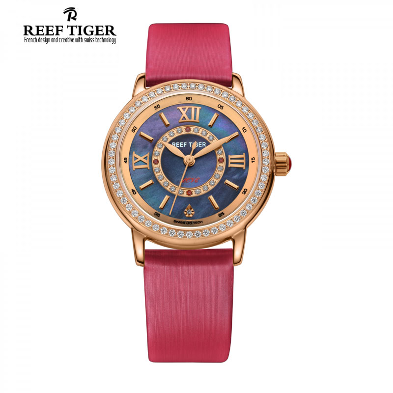 Reef Tiger Brand Elegant Romantic Diamonds Quartz Watch Reloj Mujer MOP Dial Calfskin Leather Watches Women Relogio Feminino