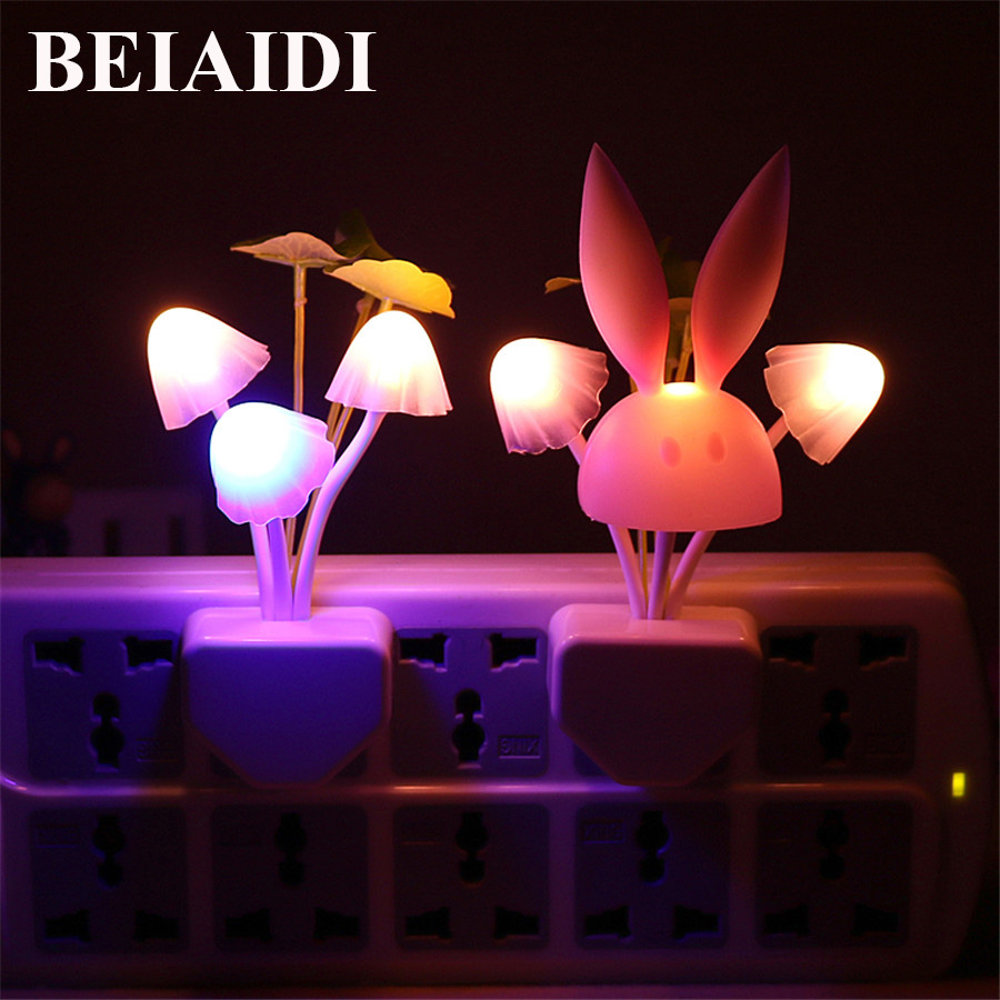 BEIAIDI Colorful LED Mushroom Rabbit Night Light Romantic Night Lamp With Dusk To Dawn Sensor Baby Kids Bedside Wall Socket Lamp