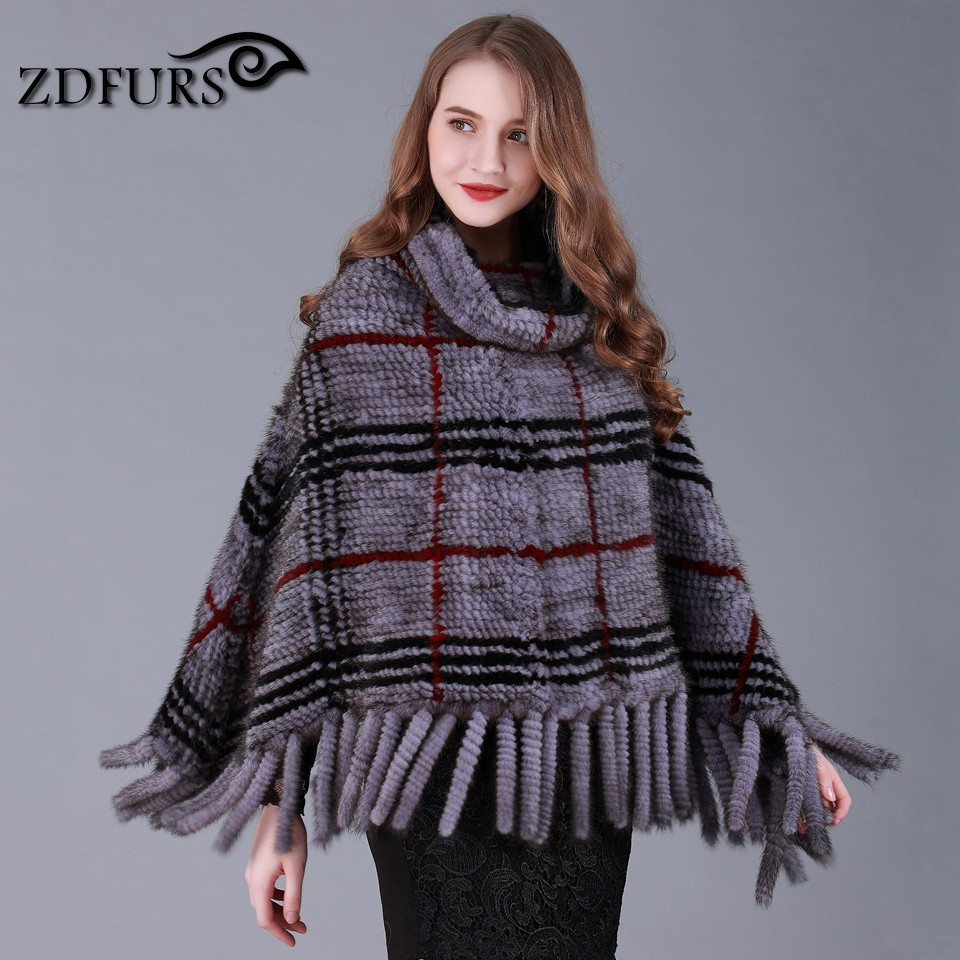 ZDFURS * real Knitted mink fur shawl 2017 New Genuine Mink Fur cape Knitted Mink Fur Poncho Women Natural Fur Warp with tassel besty women fashion real fur knitted mink fur wool cap hat with real fox fur ball ear protector genuine sable natural mink fur page 2