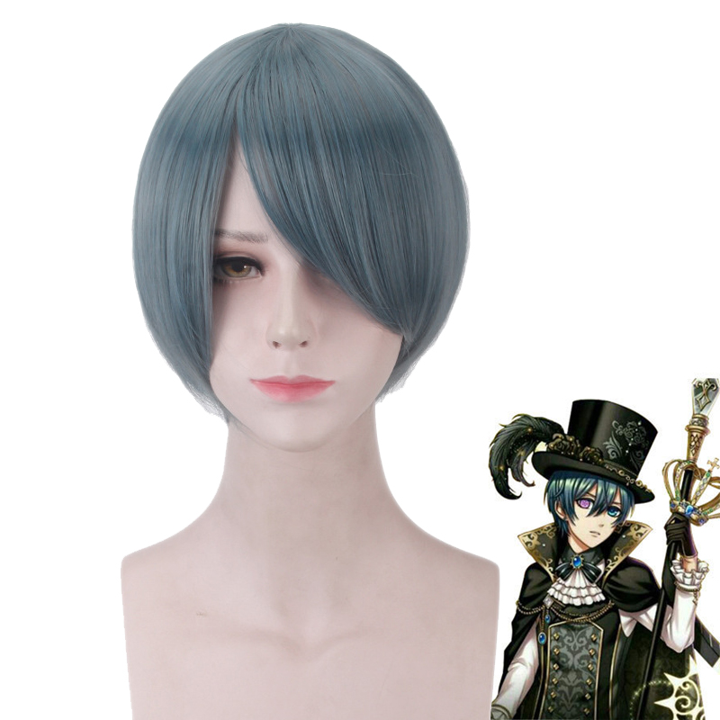 Black Butler Ciel Phantomhive Wig Cosplay Costume Book of the Atlantic Men Short Heat Resistant Synthetic Hair Party Wigs