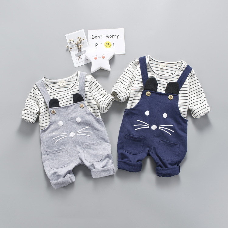 Men and women Tong Chunqiu fashion clothes 2pcs suits children striped Long sleeves T shirt+ cartoon mouse embroidery Rompers deep blue fashion long sleeves side pockets embroidery jacket