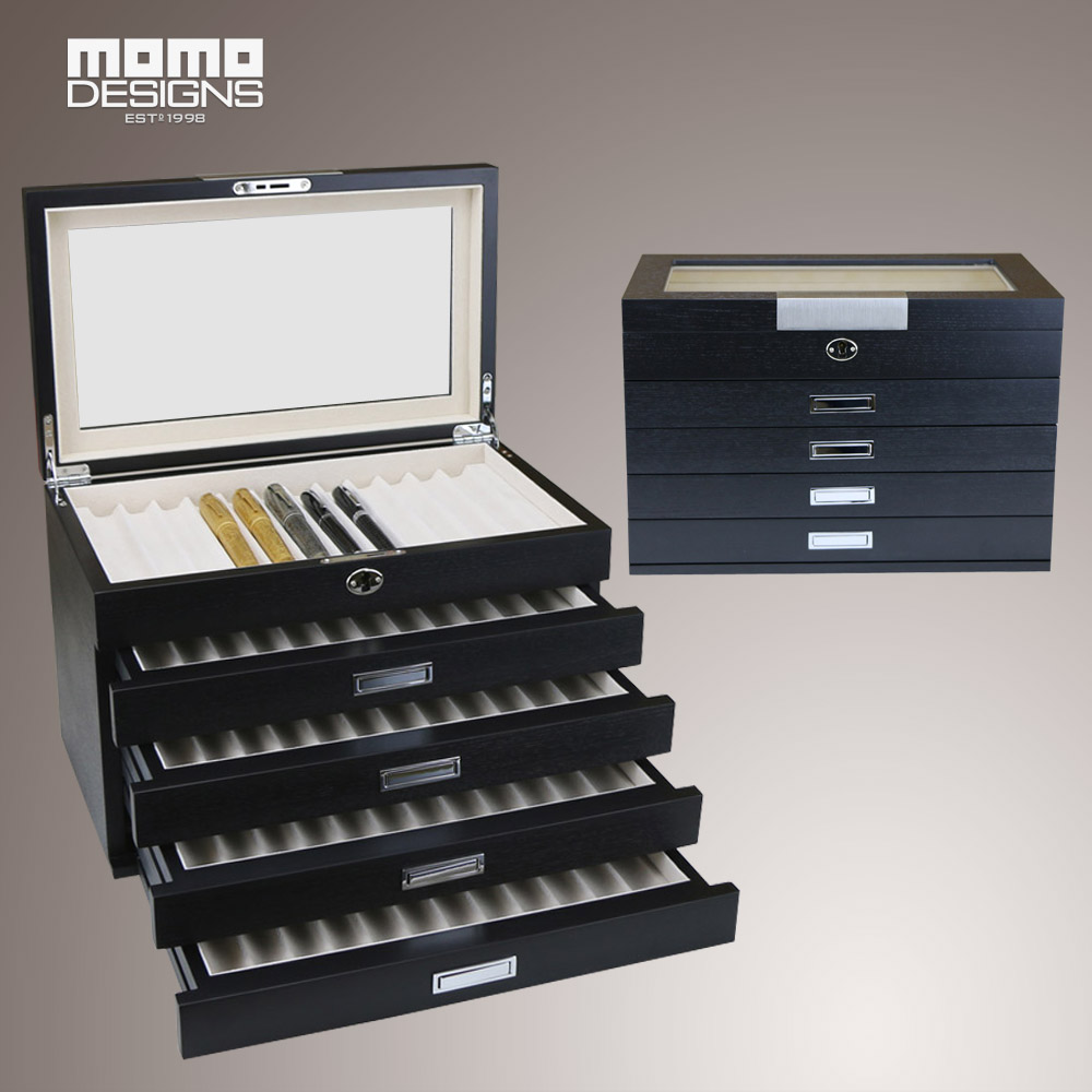 Wooden pen box for 60 pcs large volume display and wooden pen storage box pencil showcase with glass window PEN holer