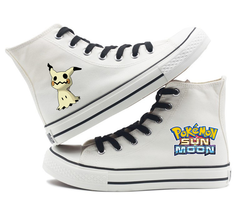 NEW Fashion Girl /& Boys Pokemon Pikachu Sneakers High-Top Canvas shoes