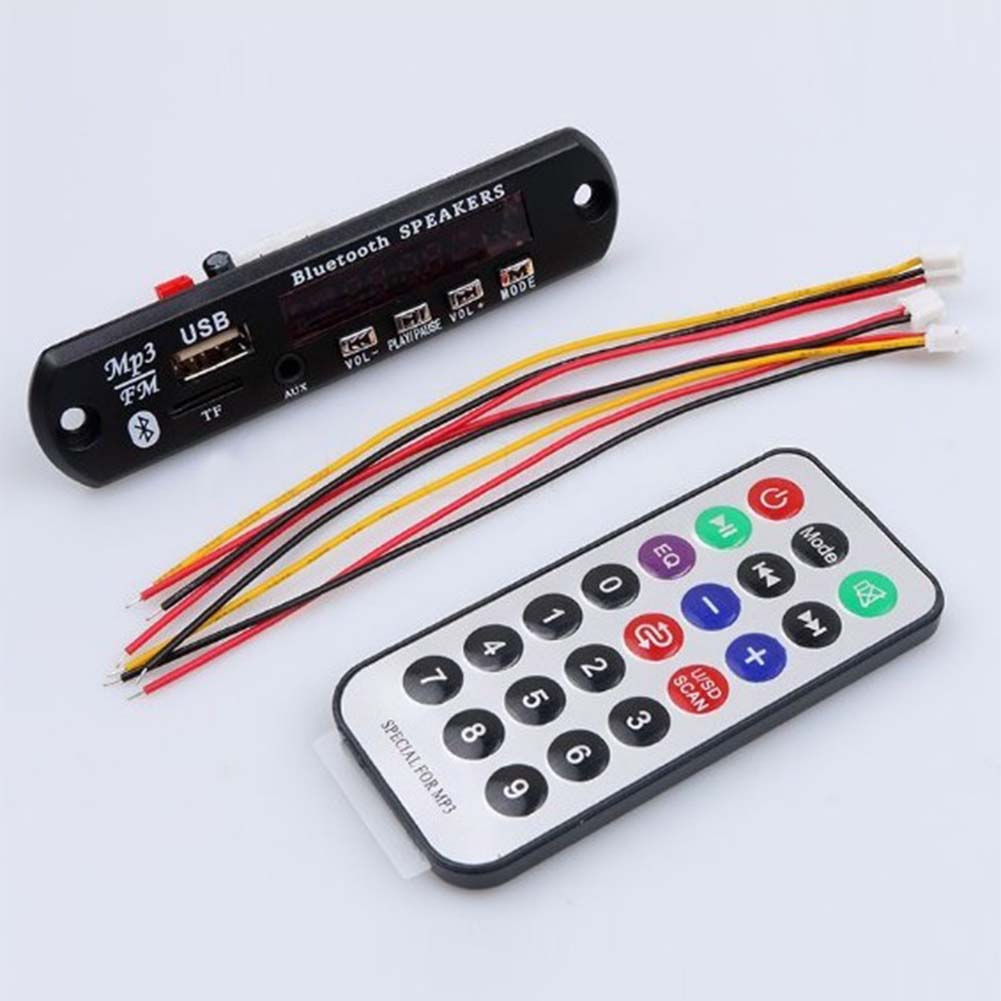 Wireless Bluetooth 12V MP3 WMA Decoder Board Audio Module USB TF Radio With Remote Control Car Accessories 88 @JH free shipping output 5v mini bluetooth wireless mp3 decoder board audio module usb tf card durable electronic modules board