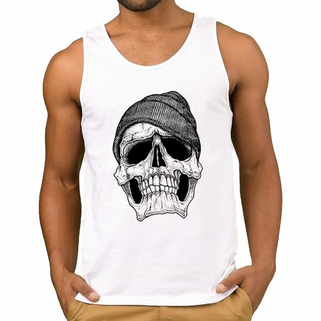 02b791d0295 Top Brand Tumblr Men Cotton Tank Top Fashion Men Graphic Summer White Vest  Urban Printed Tank Hipster Skull Shirts