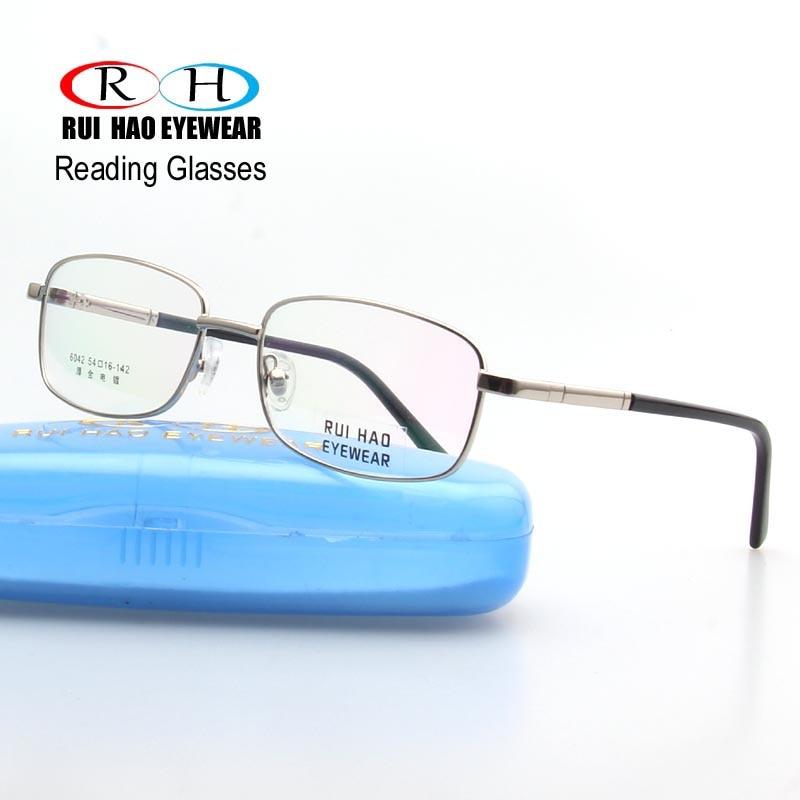 Unisex olvasó szemüvegek téglalap alakú, nagy tisztaságú, elővigyázatos szemüvegek HMC bevonatgyanta lencsék rugós szemüvegkeret 6042