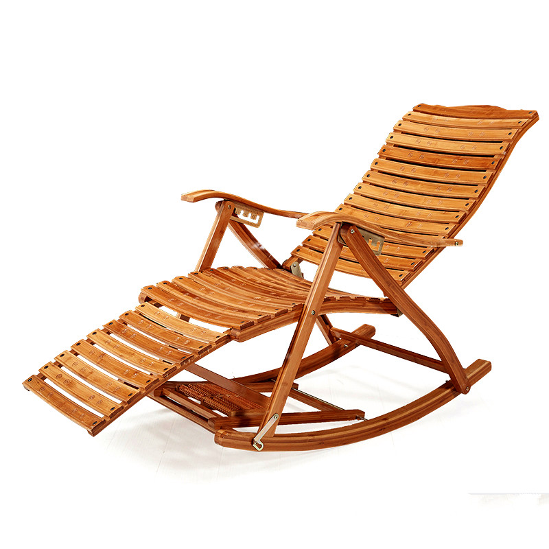 Modern Foldadble Bamboo Rocking Chair Recliner with Ottoman Indoor/Outdoor Lounge Deck Chair Bamboo Furniture Reclining Rocker carbonized wood outdoor balcony living room lounge chair recliner chairs rocking happy old