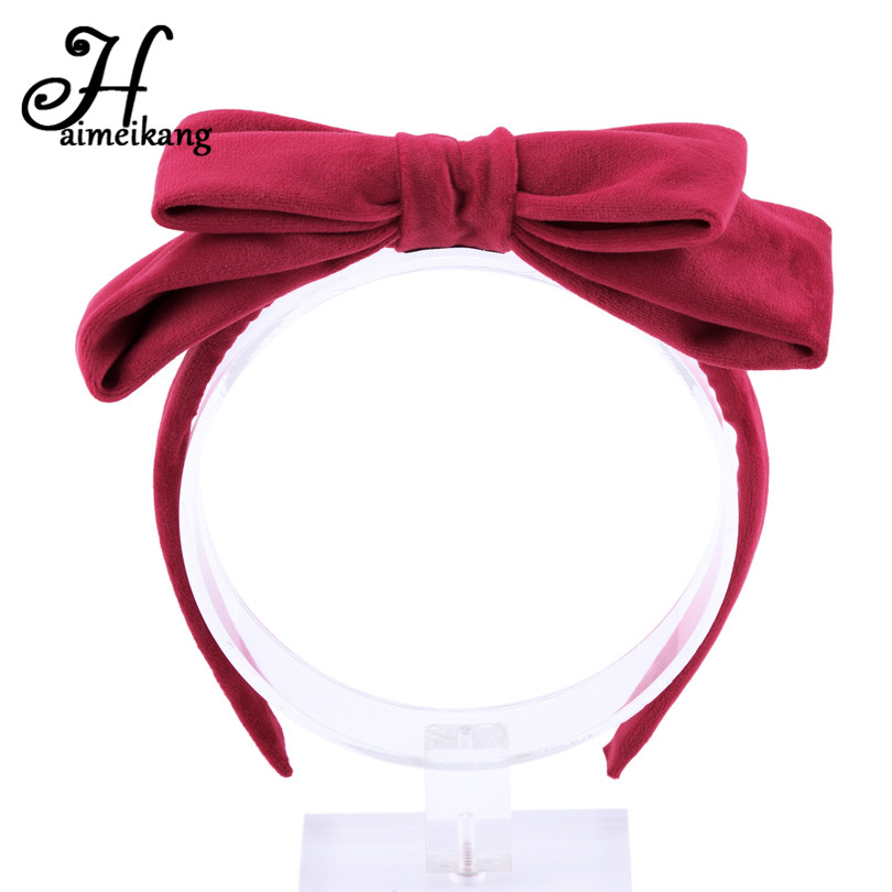 Haimekang Sofa Cotton Velvet Bowknot Hair Hoop Headband for  Women Headwear Hair Accessories Retro Bow Ties Hairband Headdress