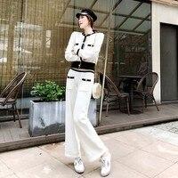 High Street белый шик комплект леди осень однобортный рубашка + корейский свободные женские брюки из двух частей трикотажная рубашка мотобрюки н