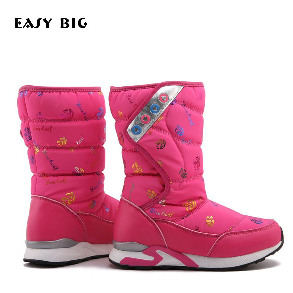 EASY BIG Top Quality Winter Warm Anti-slip Children Girls Snow Boots PU Leather Firmly Boys Shoes Kids Waterproof Boots CS0010 2018 new warm solid anti slip snow boots