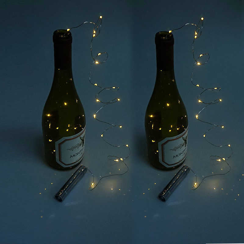 10 pcs Copper Silver Wine Bottle LED String Lights Holiday Lighting For Fairy Christmas Tree Wedding Bar Party Decoration