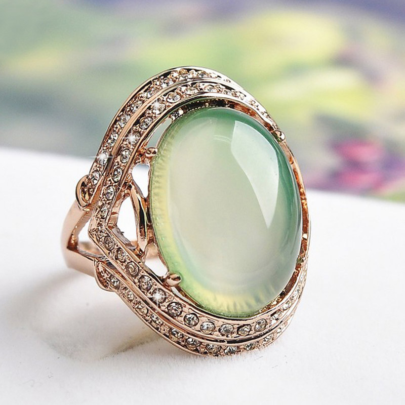 natural green stone wedding rings for women zircon jewelry rose gold color rings female aaa austria