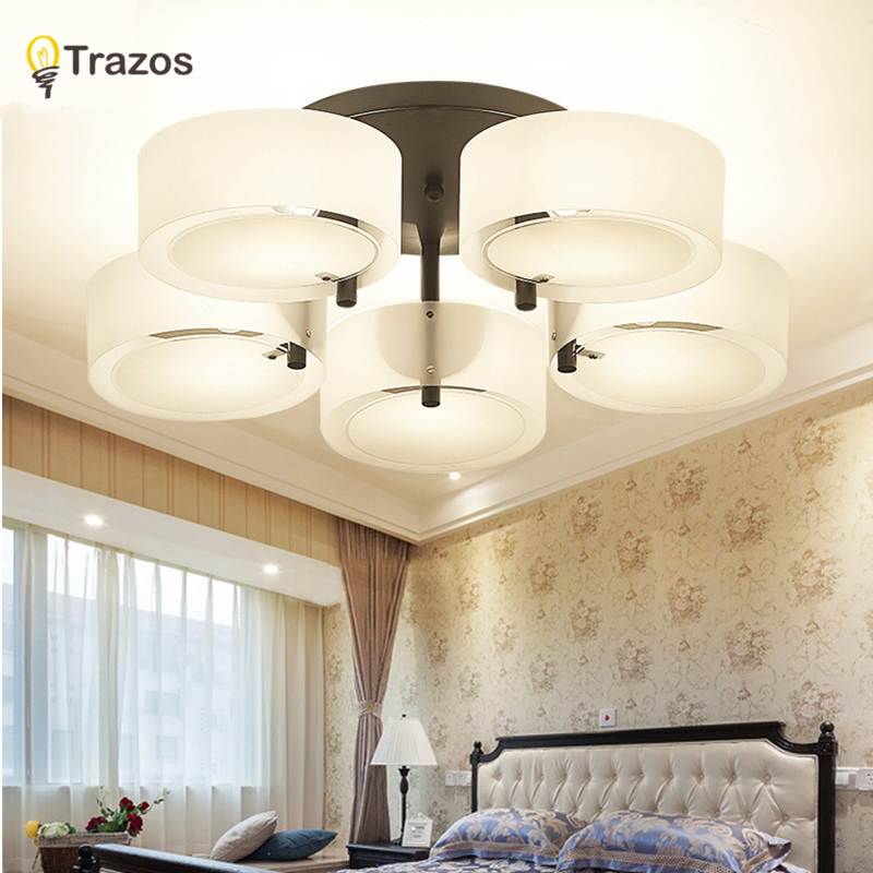 Trazos Moderne Led Ceiling Lights Black For Living Room Soverom 95-265V Innendørs belysning Tak Lampe Lampe Luminaria Teto