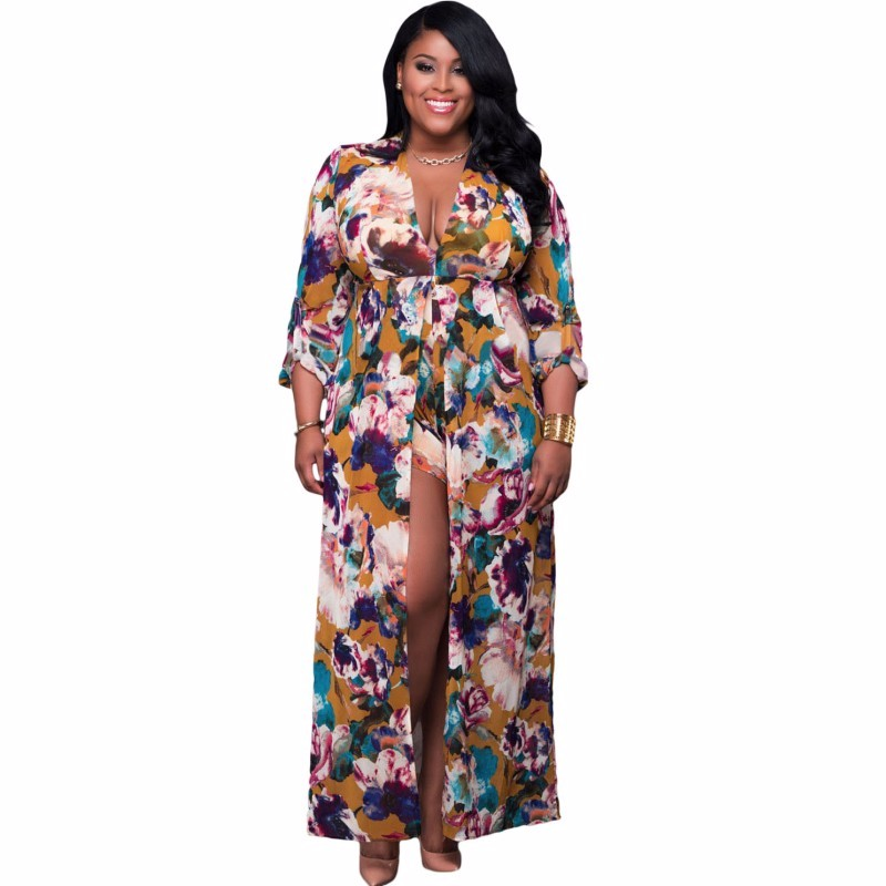 Plus-Size-Sleeved-Floral-Romper-Maxi-Dress-LC64221-22-2_conew1