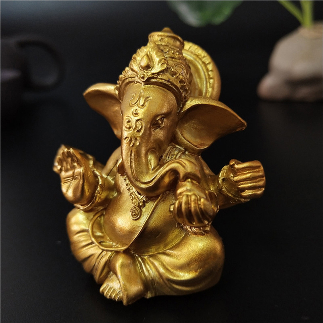 Gold Lord Ganesha Buddha Statue Elephant God Sculptures Ganesh Figurines Man-made Stone Home Garden Buddha Decoration Statues 3