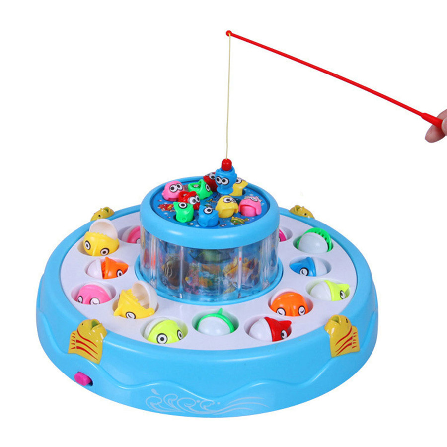 Fishing Game Toy : Kids toys double fish pool electric rotating magnetic