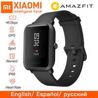 Oryginalny Huami Global Amazfit Bip Beep inteligentny zegarek tętno GPS IP68 wodoodporna obsługa Strava podłącz Smartwatch android ios