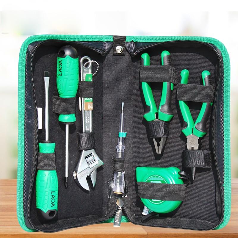 Купить с кэшбэком LAOA Hand Tools Set 7/9/13/18/22pcs Screwdrivers and Pliers With Hammer Tape Measure and Tool bag