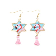 Shinus 5 Pairs/lot Miyuki Earrings Flamingo Boho Women Woven Handmade Jewelry Pendiente mujer moda Drop