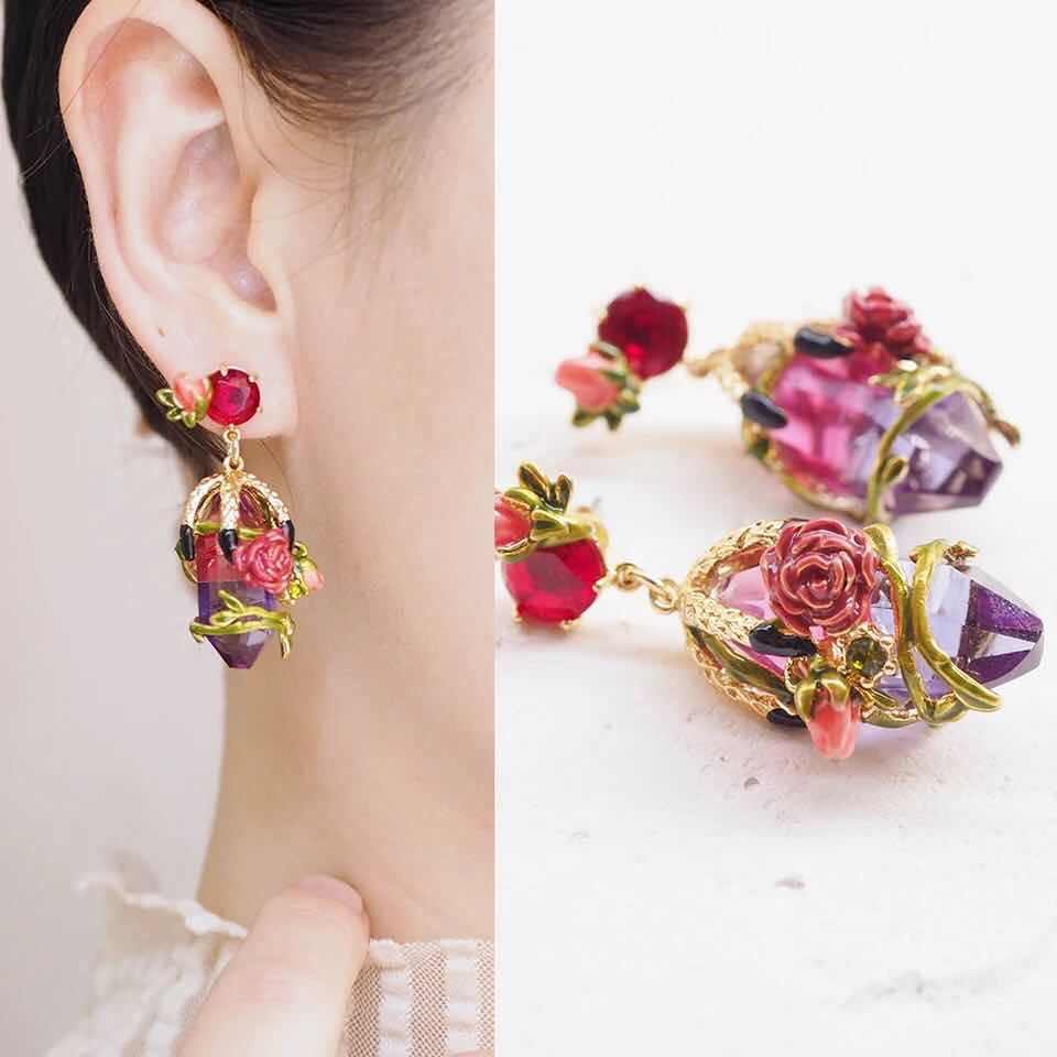 2018 Amybaby Handmade Enamel Glaze Luxury Rose Flowers Crystal StoneWomens Necklace Stud Earring Ring Jewelry For Party