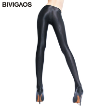 BIVIGAOS женские блестящие черные леггинсы блестящие брюки для тренировки Леггинсы найлон эластичные сексуальные леггинсы колготки для женщин сексуальная Колготки