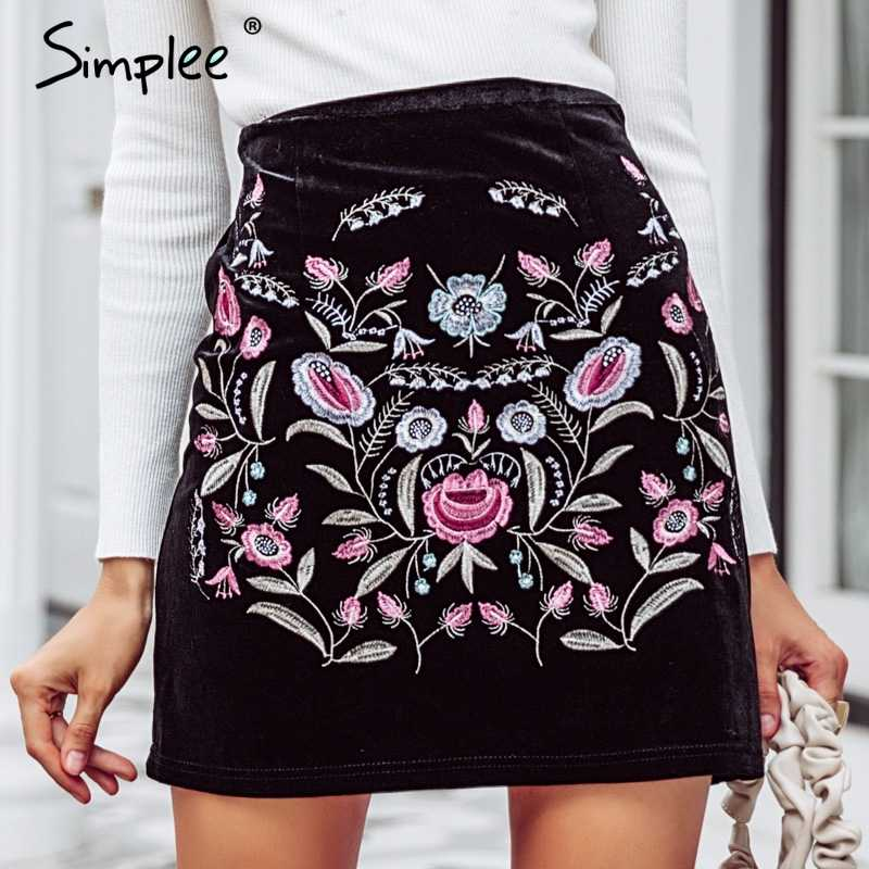 89b8dd4f80db Simplee Embroidery high waist skirts womens bottom Vintage short boho style  chic pencil skirt female autumn