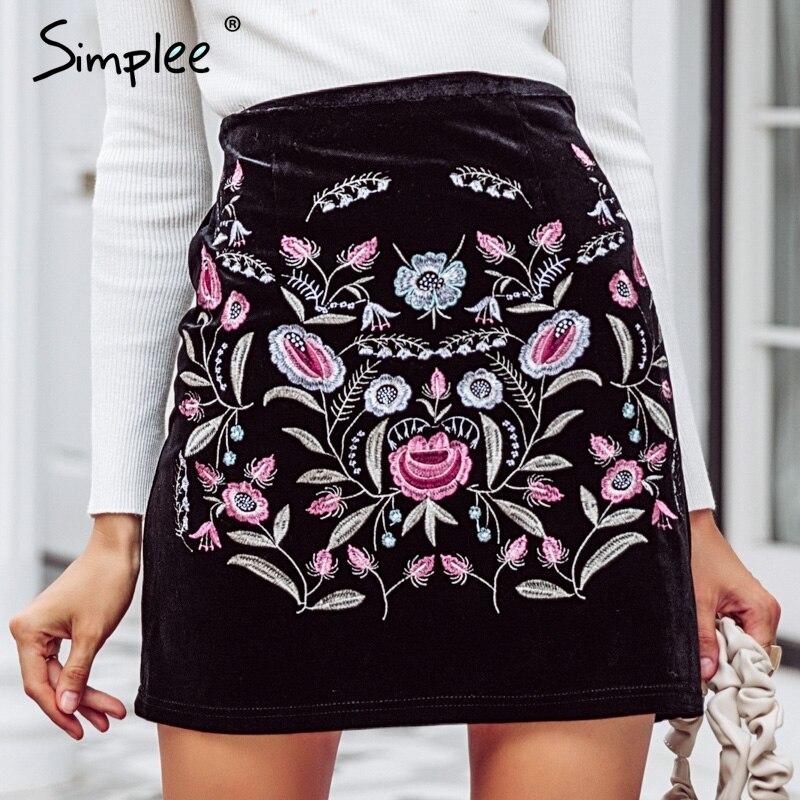 Simplee bordado faldas de cintura alta Mujer Fondo Vintage estilo boho chic falda lápiz mujer otoño sexy mini falda