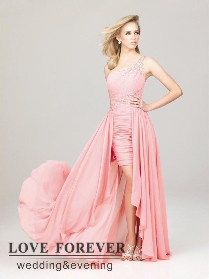 Best Selling negro rosa fucsia un hombro largo delantero corto ...