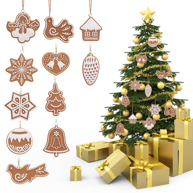 11Pcs Christmas Pendants Lot Snowflake Biscuits Hanging Christmas Tree Ornament Hand Made Clay Christmas Decorations For Home