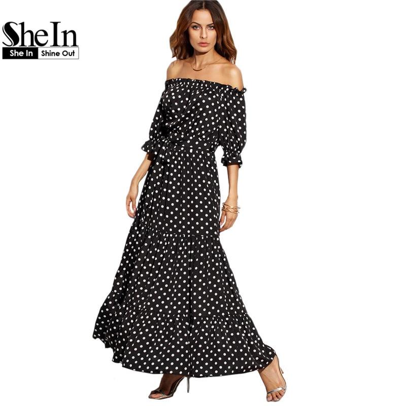 SheIn Women Summer Beach Long Dresses Ladies Black and White Polka Dot Off The Shoulder Half Sleeve Tie Waist A Line Maxi Dress